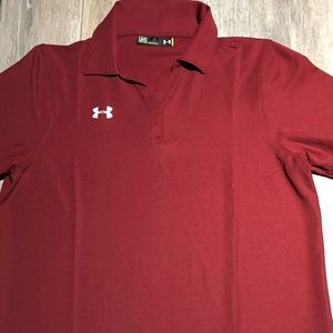 WOMEN'S LOOSE FIT POLO BURGANDY UNDER ARMOUR TEE